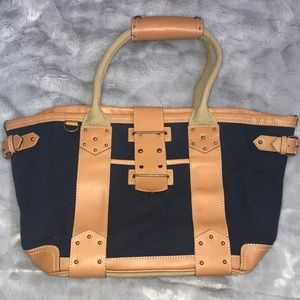 J. Crew NWT Navy Canvas Tote with Real Leather